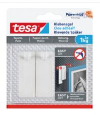 Tesa® Clou adhésif pour papier peint & plâtre 2x 1kg